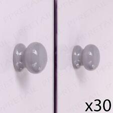 30 x Grey Ceramic 35mm Round Door Knob Set Furniture Bedroom/Kitchen/Bathroom