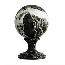 Scultura Sfera con Piede in Marmo Portoro Statue Marble Sculpture Sphere Antique