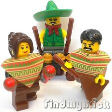M624 Lego Custom Mexico Mexican Singer 3x Minifigures with Music Instruments NEW