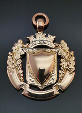 c1914, ANTIQUE SOLID 9CT ROSE GOLD DOUBLE SIDED WATCH FOB SHIELD MEDAL, 11.5G