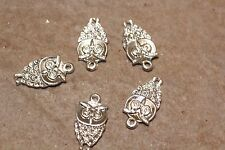 5pc Silver Owl Connector Charms 1-3 day Shipping