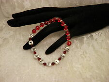"Handmade 7"" AWARENESS Diabetic 2 ID ALERT RED Glass Bracelet/Jewelry/Women"