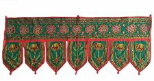 Green Indian embroidered toran door valances wall hanging Elephant Home Decor
