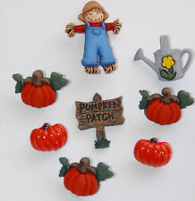 Pumpkin Patch Buttons w Scarecrow / Dress It Up Fall Buttons / Jesse James / NIP