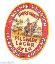 OLD C MACHEN & HUDSON BREWERY LIVERPOOL SPORTSMAN PILSENER LAGER BEER BEER LABEL