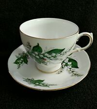 Queen Anne England Bone China Footed Cup Saucer Set Lily Of The Valley