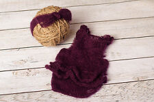 Newborn Plum Knitted Mohair Romper and Headband Set Photography Prop Baby Purple