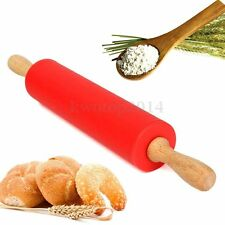 "12"" Wooden Flour Pastry Dough Handle Roller Kitchen Silicone Rolling Pin Stick"