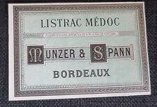 LISTRAC MEDOC Munzer et Spann  ancienne étiquette