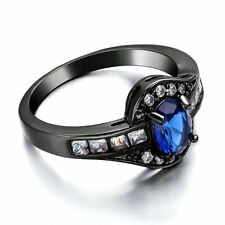 Oval Blue sapphire Ring Size 8.5 Women's 14K Black Gold Filled Wedding CZ Band