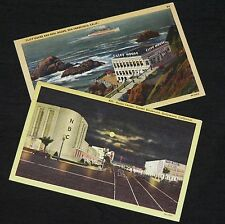 RADIO CENTER SUNSET BOULEVARD / CLIFF HOUSE SAN FRANCISCO - 2 x linen postcards