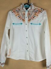 Life Style Embroydered Cotton Western Snap Shirt Blouse Small