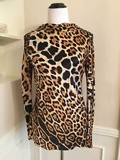 YSL Yves Saint Laurent Leopard Print Silk Top Blouse Long Sleeve