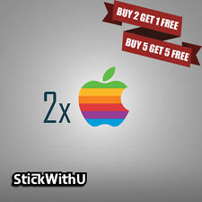2x Macbook Air Pro Vinyl Skin Sticker Decal Logo Retro Apple Rainbow 2xLG01
