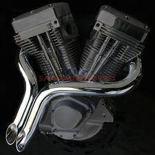 "CHROME 2"" BIG GROWL SHORT SHOTS DRAG EXHAUST PIPES SOFTAIL TOURING HARLEY  86-14"