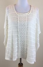 NEW STYLE & CO. Cream Lace Pullover Top Blouse with Cami  Women's XL NWT $59