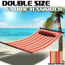 Outdoor Hammock Quilted Fabric w/ Pillow Double Size Spreader Bar Bed Camp UV
