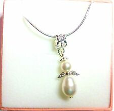 Guardian Angel Necklace made with Swarovski Pearl Elements Bridesmaid White