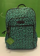 New Vera Bradley Large Campus Backpack in Shower Vines (Tiffany Blue)