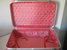 """Vintage Retro Red Pink Suitcase Luggage 24"""" Excellent Clean Condition"""