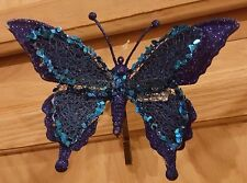 2x Clip-on Royal Blue Glitter Butterfly Ornament w/Turquoise Lace Sequin Wings