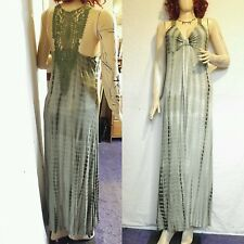Size XL 18 20 Green tie dyed hippy full length maxi dress lace back Free p&p