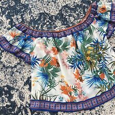 New Anthropologie Womens Floral Tropical Off the Shoulder Blouse Top Size Large