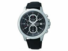 Original Price £199.99 Brand New Seiko Men's Black Dial Chrono Strap Watch.