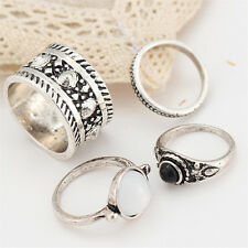 Charm Women Fashion Punk Jewelry 4Pcs Retro Silver Plated Obsidian Finger Rings