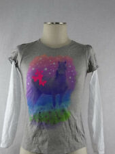 Hanes Favorite Girls Tee Crew Long Sleeves Top Gray w/ Horse Print Size L 10/12