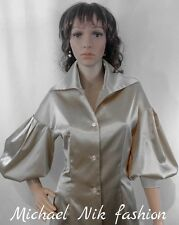 50's Victorian Satin Blouse New Formal Size S M L XL 3/4 Balloon Sleeve Shirt