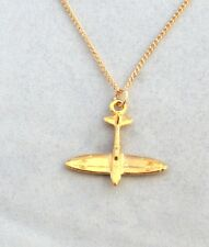 Supermarine Spitfire Plane Necklace (pendant), 22ct Gold Plated, Gift Boxed