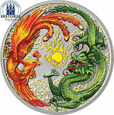 Australien 1 Dollar Silber 2017  Silbermünze Drache und Phönix in Farbe