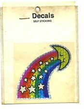 vtg prismatic sticker novelty moon stars rainbow retro hippie VAN VANNER
