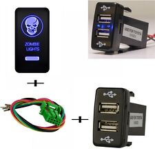 Push Switch Dual USB 2 Port Charger Skull LED Light For Toyota Prado 120 Series
