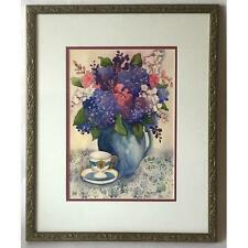 WATERCOLOR STILL LIFE OF FLOWERS TABLE SIGNED DOHERTY