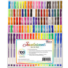 US Art Supply Jewelescent 100 Color Gel Pen Set Classic Glitter Metallic Ne