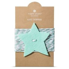 New ! Sugar Paper Mint Star Tie On Gift Topper Blue and White Color