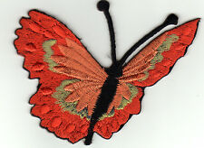 Aufnäher, Bügelbild, iron-on patch Schmetterling edel rot gold (a1v3)