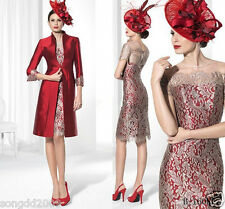 Gorgeous Red Mother of the Bride Outfits Women Formal Wedding Dress Custom Size