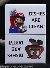 "CLEAN / DIRTY Super Mario & Goomba Sign 2"" X 3"" Dishwasher Magnet."
