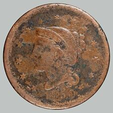 1850 1C N-? Braided Hair Cent, See Description - Nice coin Corrosion removed -