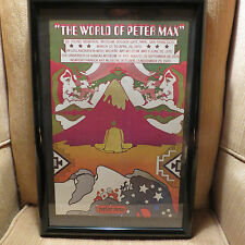 """PETER MAX VINTAGE POSTER -  """" THE WORLD OF MAX  """"  1970-   12"""" x 20 """"    FRAMED"""