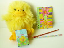 "Plush 10"" Chick That Squeaks + Chick Puzzle + Flower Decorated Notepad +"