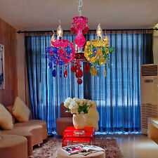 Classic Vintage Artistic Ceiling light Crystal Chandelier 5 Lamp Rainbow Color