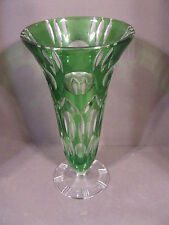 VINTAGE BOHEMIAN GREEN CUT TO CLEAR CRYSTAL GLASS VASE