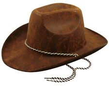 Adult Fancy Dress Party Costume Accessory Faux Leather Cowboy Hat Dark Brown