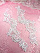 """BL4 Pearl Sequin Appliques White Floral Venise Lace Mirror Pair 9"""""""