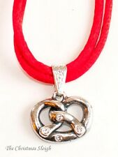 German Bavarian Women's Oktoberfest Jewelry - Swarovski Pewter Pretzel Necklace