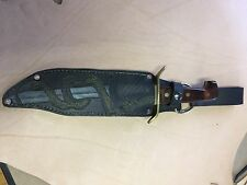 Heavy Duty Sheath Straight Knife Hand Carved Leather Fits Large Bowie Knife